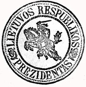 Presidential Seal of the Republic of Lithuania with Vytis (Pahonia), used in 1919–1940