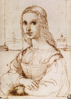 Raphael's drawing (c. 1505), after Leonardo; today in the Louvre along with the Mona Lisa[35]