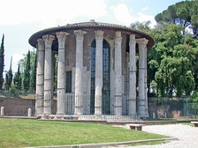 The Temple of Hercules Victor, Rome, built in the mid 2nd century BC, most likely by Lucius Mummius Achaicus, Roman commander in the Achaean War that destroyed Corinth
