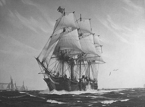 SS Savannah, the first steam powered ship to cross the Atlantic Ocean—1819