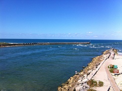 North Jetty on the left and South Jetty on the right at the mouth of Sebastian Inlet in Florida from the Indian River to the Atlantic Ocean.