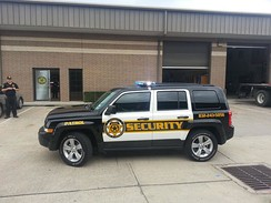 A patrol vehicle use by Priority Protection & Investigations in Texas