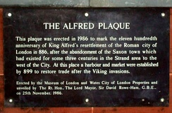 Plaque near Southwark Bridge noting the activities around the time of King Alfred.