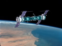 Soyuz 4 and Soyuz 5 after docking, artist view