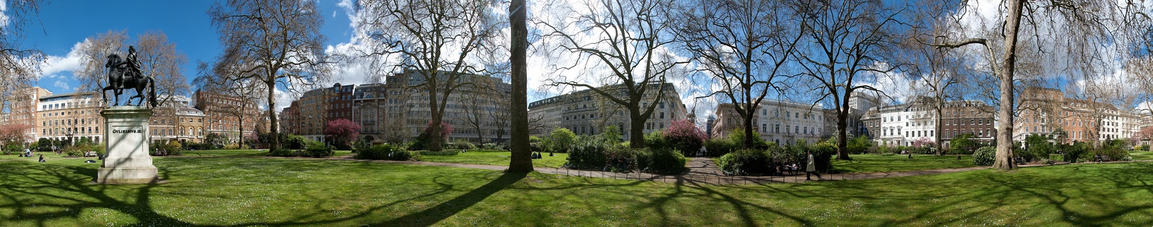 A 360-degree view of St James's Square; from left to right, east, south, west and north. (Swipe left or right)