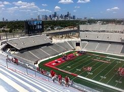 A view of Downtown Houston from TDECU Stadium prior to the construction of the indoor practice facility