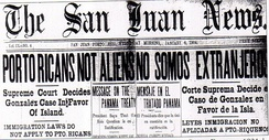 Cover of The San Juan News announcing the Supreme Court decision in the Isabel Gonzalez case of 1904