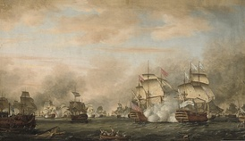 The Battle of the Saintes (1782). On the right, the French flagship, Ville de Paris, in action against HMS Barfleur.
