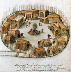 A 16th-century sketch of the Algonquian village of Pomeiock.