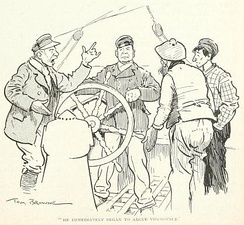 "Illustration by Tom Browne from the article ""Stone Fishing"" by Bart Kennedy. The caption is ""He immediately began to argue vigorously"", The Wide World Magazine, volume 9"" (May-Oct 1902)"
