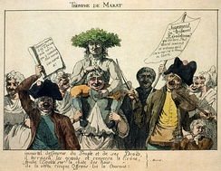 """Marat's Triumph"": a popular engraving of Marat borne away by a joyous crowd following his acquittal."