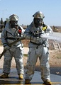 Turkish firefighters in MOPP 4 level protective gear during an exercise held at Incirlik Air Base, Turkey