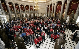 Members of the 99th Fighter Squadron at the Tuskegee Institute, the United States' first squadron of African Americans are honored at the National Statuary Hall, 2007.