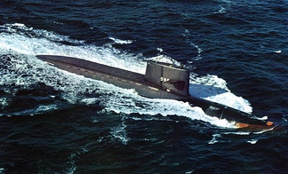 USS George Washington–the lead boat of US Navy's first class of Fleet Ballistic Missile submarines (SSBN). George Washington was the first operational nuclear-powered multi-missile strategic deterrence asset fielded by any navy.