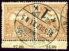 Pair of Hungarian postage stamps cancelled at Kolozsvár in 1915