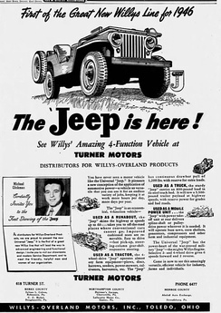 "1946 advertisement marketed the ""Universal Jeep"", not mentioning the CJ-2A type-code yet"