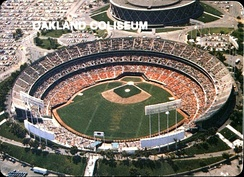 The Oakland Coliseum, home of the Oakland Athletics baseball team