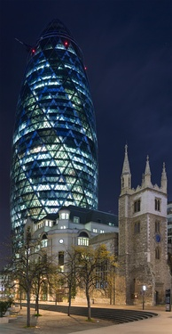 30 St Mary Axe in London is an example of a modern environmentally friendly skyscraper.