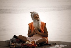A sadhu by the Ghats on the Ganges, Varanasi, 2008
