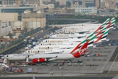 Aircraft parked at remote stands at DXB