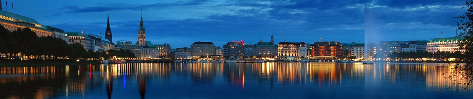 A panoramic view of the Hamburg skyline of the Binnenalster taken from Lombardsbrücke.