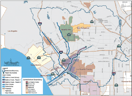 Map of Ballona Creek watershed, 2010.