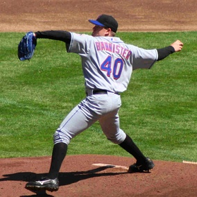 Bannister pitching for the New York Mets in 2006