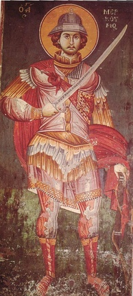 A Byzantine fresco of Saint Mercurius with a sword and helmet, dated 1295, from Ohrid, Macedonia