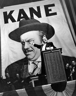 Orson Welles in the title role of Citizen Kane (1941), often cited as the greatest film of all time.[80]