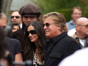 Don Johnson with Demi Moore and Ashton Kutcher at the Hollywood Walk of Fame in 2006