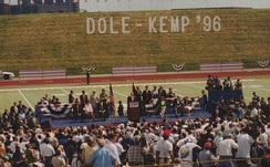 Jack Quinn (Standing on Main Stage, Rear, Second from Right) at 1996 Dole-Kemp Rally at the University at Buffalo, NY