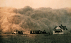 The Dust Bowl phenomenon of the 1930s, as documented by Ken Burns in The Dust Bowl (2012), served as inspiration for the blight.