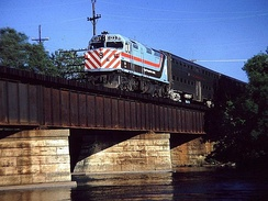 RTA EMD F40PH No. 123 crossing the Fox River in Elgin, Illinois in 1981