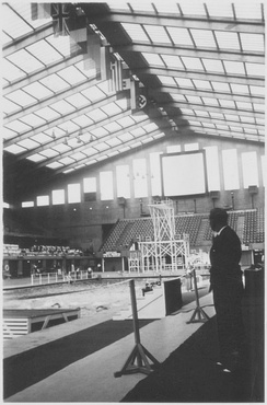 Empire Pool Wembley on the first day of the 1938 European Aquatics Championships.
