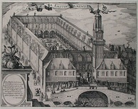 A 17th-century engraving depicting the Amsterdam Stock Exchange (Amsterdam's old bourse, a.k.a. Beurs van Hendrick de Keyser in Dutch), built by Hendrick de Keyser (c. 1612). The Amsterdam Stock Exchange (Beurs van Hendrick de Keyser), launched by the Dutch East India Company in the early 1600s, was the world's first official (formal) stock exchange when it began trading the VOC's freely transferable securities, including bonds and shares of stock.[152]