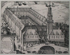Engraving depicting the Amsterdam Stock Exchange, built by Hendrik de Keyser c. 1612.