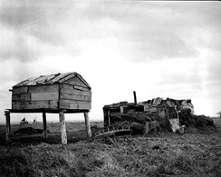 Food cache and barabara sod hut in Nushagak, 1917
