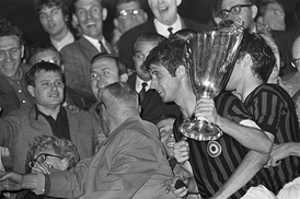 The trophy awarded to A.C. Milan in 1968.