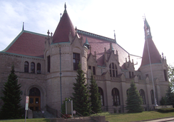 The former East Saginaw Post Office, pictured here in June 2006, is now the site of the Castle Museum of Saginaw County History and is also listed on the National Register of Historic Places.