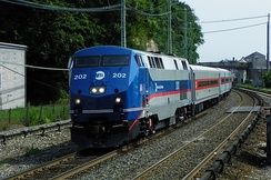 Metro-North's GE Genesis P32AC-DM electro-diesel locomotive can also operate off of third-rail electrification.