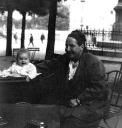 "Gertrude Stein with Ernest Hemingway's son, Jack Hemingway in 1924. Stein is credited with bringing the term ""Lost Generation"" into use."