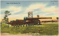 Color image of 155 mm GPF-type guns at Fort Monroe, circa 1930-1945