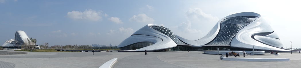 Harbin Grand Theater , designed by MAD Studio. Located in Harbin's Songbei District, the opera house is surrounded by wetlands and waterways of Songhua River.