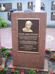 The monument dedicated to Huggins by the New York Yankees in Monument Park