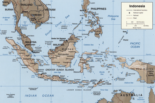 Map of Indonesia showing waters of the East Indian Archipelago