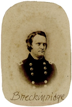 Black and white oval portrait of Breckinridge in blue U.S. Army uniform. Young man in his 20s, dark hair.