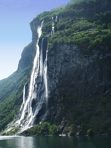 Waterfalls are common along the western part of the mountain chain, here represented by The Seven Sisters in Geiranger