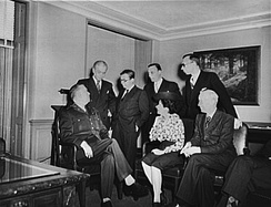 Sartre (third from left) and other French journalists visit General George C. Marshall in the Pentagon, 1945