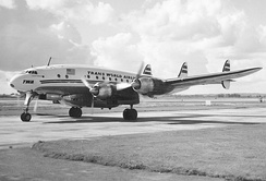 "TWA L-749A Constellation at Heathrow in 1954 with an under fuselage ""Speedpack"" freight container"
