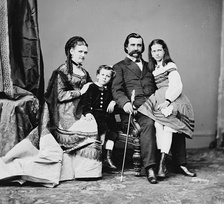 "Logan with his wife Mary Simmerson Cunningham Logan, son Manning Alexander Logan and daughter Mary Elizabeth ""Dollie"" Logan in about 1870"